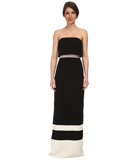 ABS Allen Schwartz - Strapless Gown w/ Stripe Hem (Black) Women's Dress
