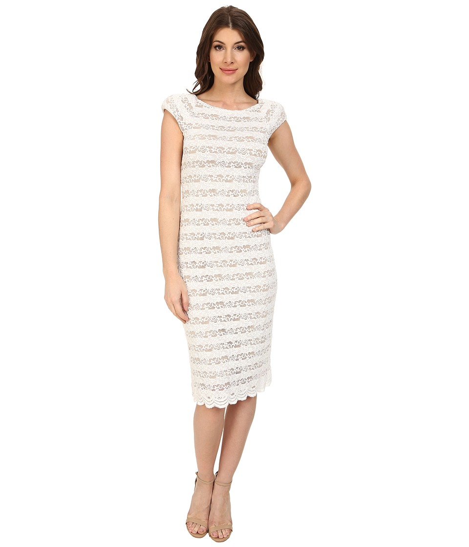 ABS Allen Schwartz - Open Back Stretch Lace Dress (Ivory) Women's Dress