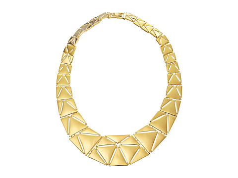 LAUREN by Ralph Lauren - Curacao 18 Graduated Metal Triangle Collar w/ Foldover Clasp Necklace (Gold) Necklace