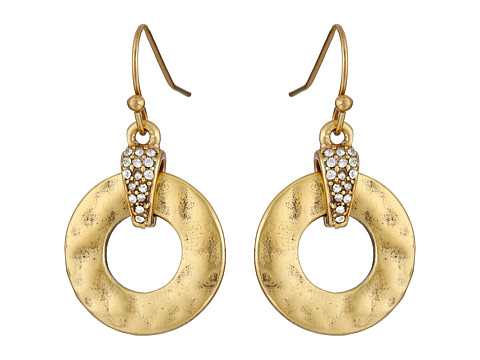 LAUREN by Ralph Lauren - Sandy Cay French Wire 19mm Hammered Metal Ring w/ Pave Drop Earrings (Crystal/Matte Gold) Earring