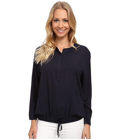 Calvin Klein Jeans - Garment Dyed Rayon Raglan Henley Sport Top (Classic Navy) Women's Long Sleeve Pullover