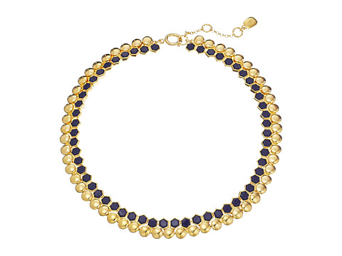LAUREN by Ralph Lauren - Catalina Cabs 17 Round Hexagon Cabs w/ Spring Closure Necklace (Navy/Gold) Necklace