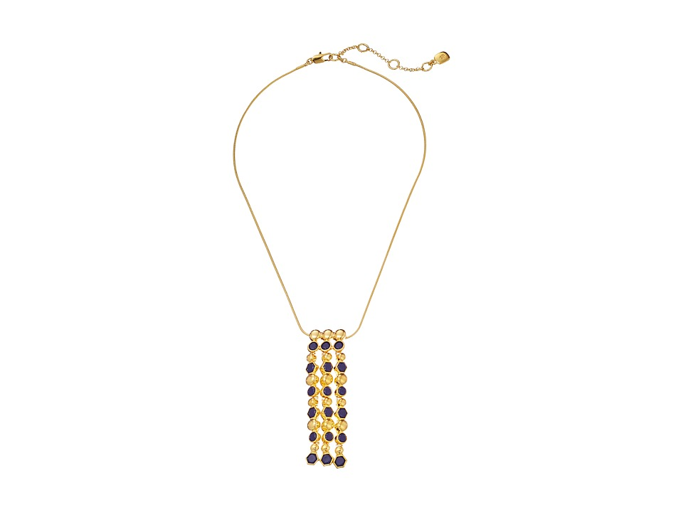 LAUREN by Ralph Lauren - Catalina Cabs 18 Chain w/ Round Hexagon Cabs Linear Frontal w/ Spring Closure Necklace (Navy/Gold) Necklace