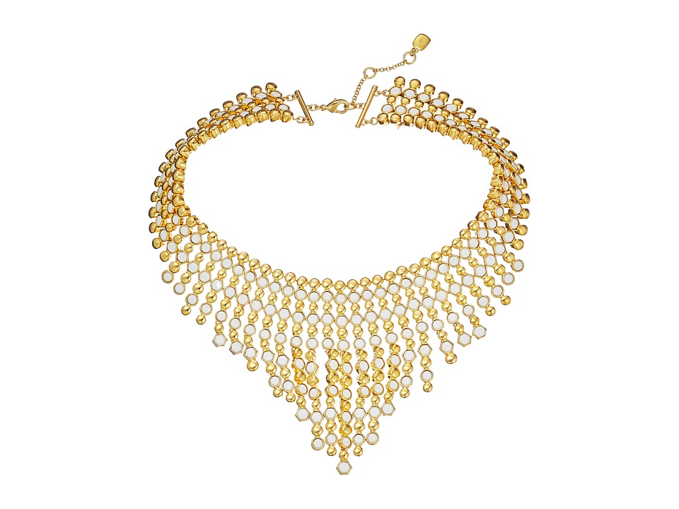 LAUREN by Ralph Lauren - Catalina Cabs 16 Round Hexagon Cabs Drama Bib w/ Spring Closure Necklace (Moonstone/Gold) Necklace