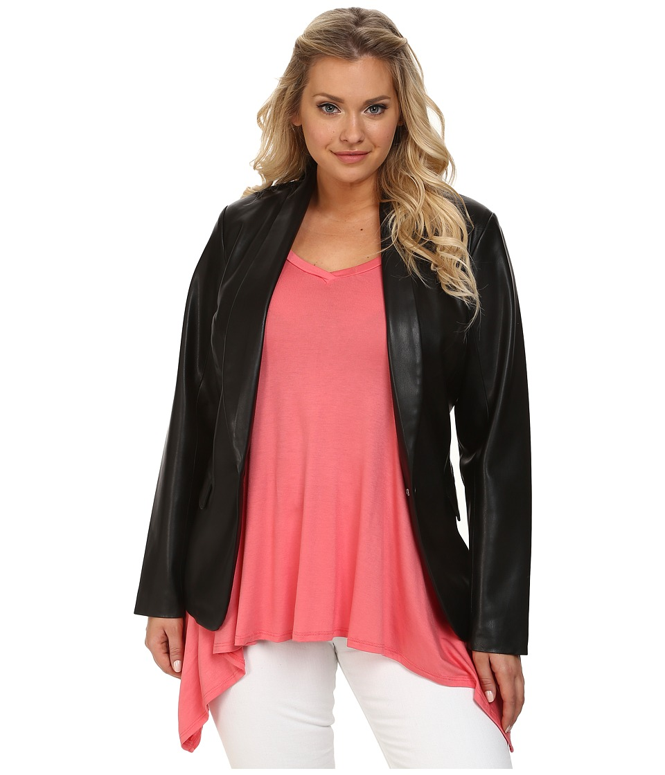 Mynt 1792 - Plus Size Faux Leather Blazer (Black) Women's Jacket