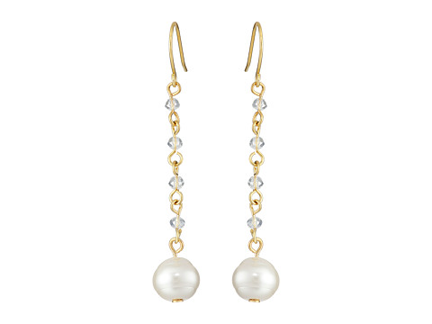 LAUREN by Ralph Lauren - Pretty In Pearls French Wire Small Faceted Stones w/ Pearl Linear Earrings (White Pearl/Gold) Earring