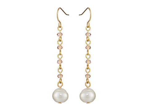 LAUREN by Ralph Lauren - Pretty In Pearls French Wire Small Faceted Stones w/ Pearl Linear Earrings (Rose Gold) Earring
