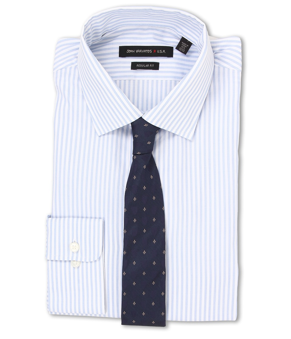 John Varvatos - Regular Fit Stripe Dress Shirt (Blue Cloud) Men