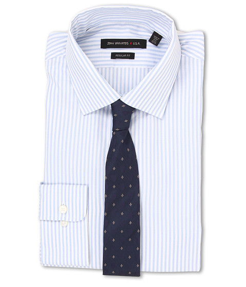 John Varvatos - Regular Fit Stripe Dress Shirt (Blue Cloud) Men's Long Sleeve Button Up