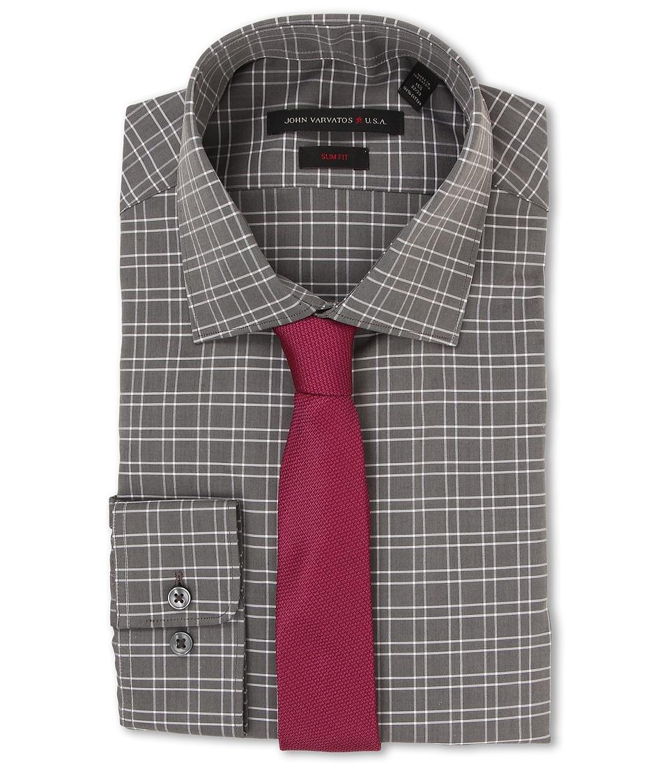 John Varvatos - Slim Fit Check Dress Shirt (Storm) Men's Long Sleeve Button Up