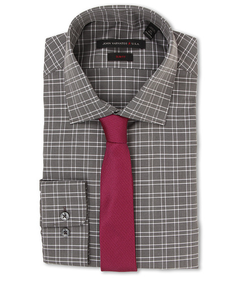 John Varvatos - Slim Fit Check Dress Shirt (Storm) Men