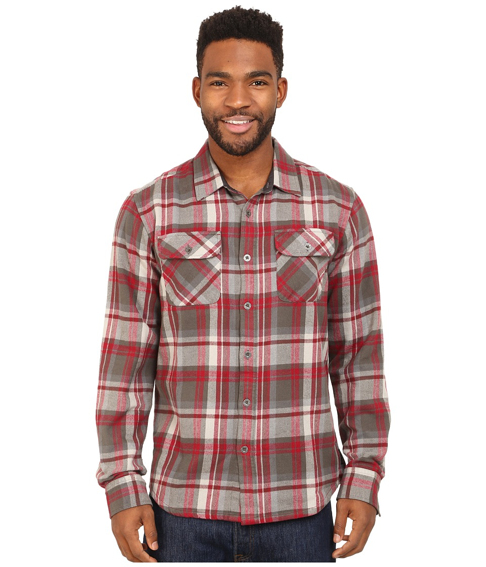 Prana - Lybeck L/S Flannel (Charcoal) Men's Long Sleeve Button Up