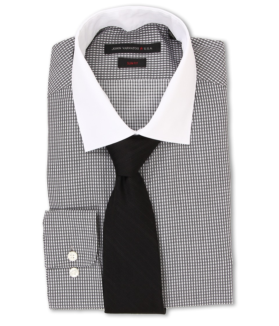John Varvatos - Slim Fit Check Dress Shirt (Eclipse) Men's Long Sleeve Button Up
