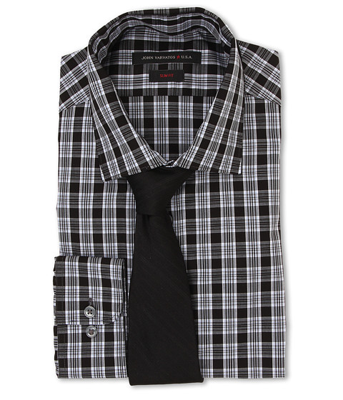 John Varvatos - Slim Fit Check Dress Shirt (Midnight) Men