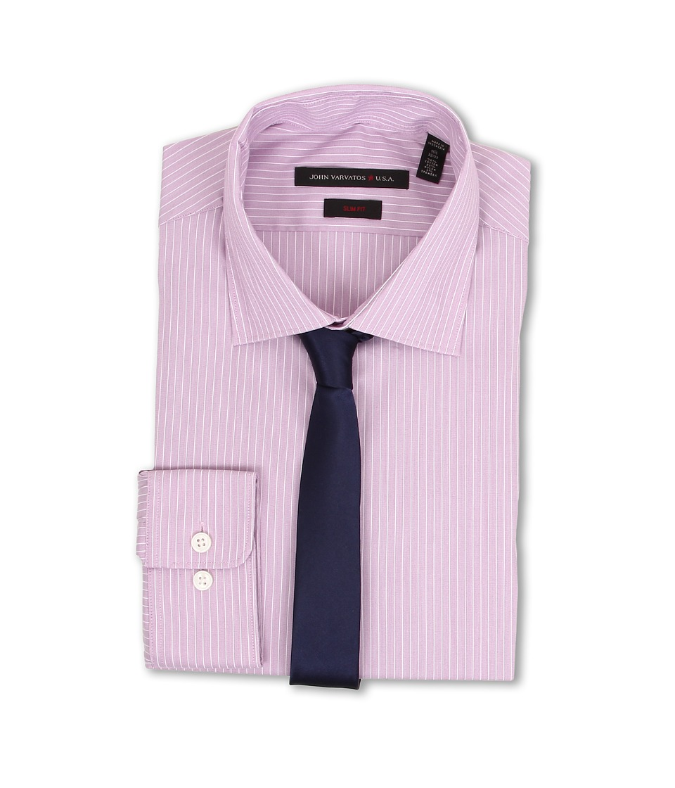 John Varvatos - Regular Fit Stripe Dress Shirt (English Rose) Men's Long Sleeve Button Up