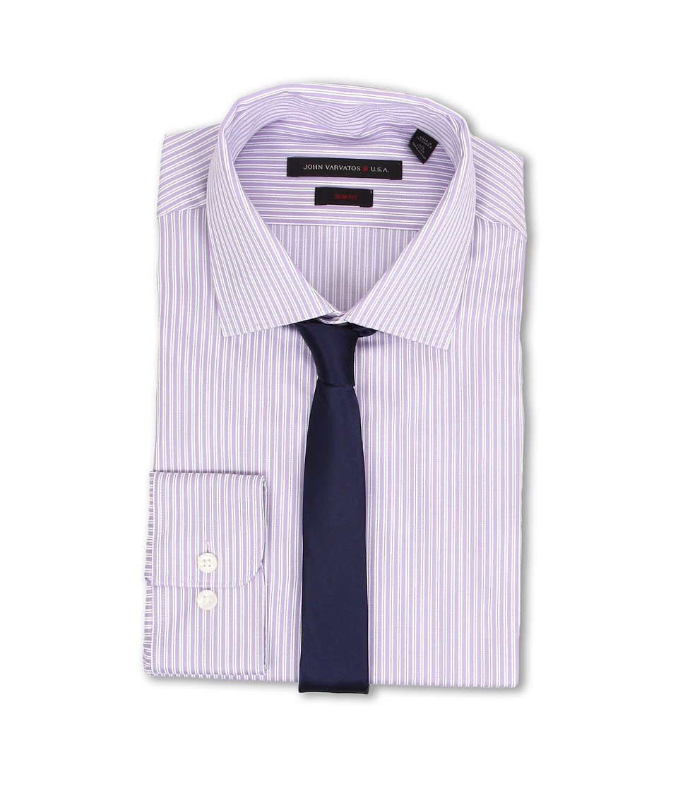 John Varvatos - Slim Fit Stripe Dress Shirt (Ewild Orchid) Men's Long Sleeve Button Up