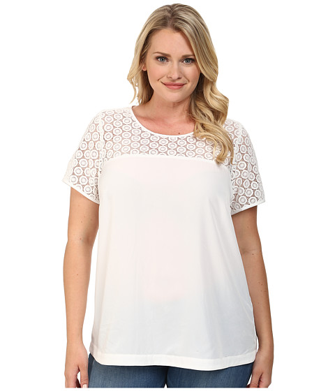 Mynt 1792 - Plus Size Short Sleeve Boat Neck Top (Bright White) Women's T Shirt