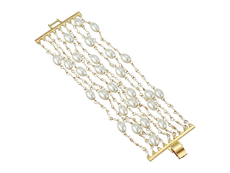 LAUREN by Ralph Lauren - Pretty In Pearls 7 1/2 Row Pearl Small Faceted Stones w/ Foldover Closure Bracelet (White Pearl/Gold) Bracelet