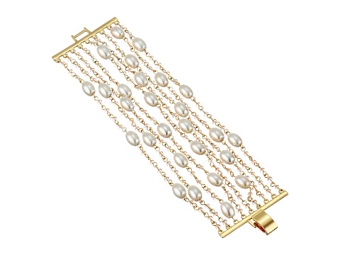 LAUREN by Ralph Lauren - Pretty In Pearls 7 1/2 Row Pearl Small Faceted Stones w/ Foldover Closure Bracelet (Rose Gold) Bracelet