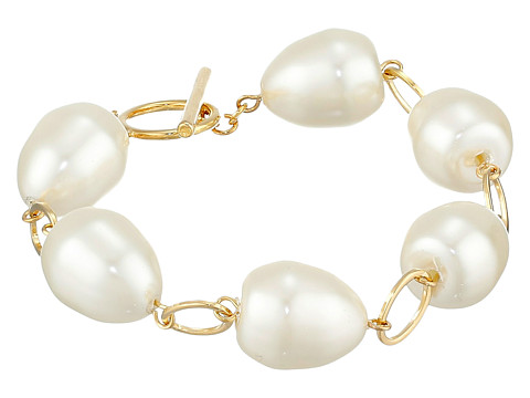 LAUREN by Ralph Lauren - Pretty In Pearls Rosary Linked Pearl w/ Ring Toggle Bracelet (White Pearl/Gold) Bracelet