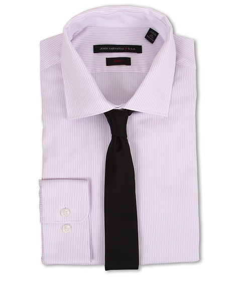John Varvatos - Slim Fit Stripe Dress Shirt (Classic Pink) Men