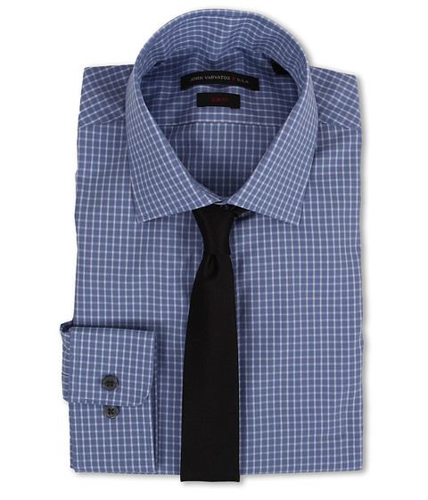 John Varvatos - Slim Fit Check Dress Shirt (Smokey Blue) Men