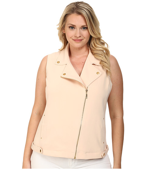 Mynt 1792 - Plus Size Moto Vest (Cream Tan) Women's Vest