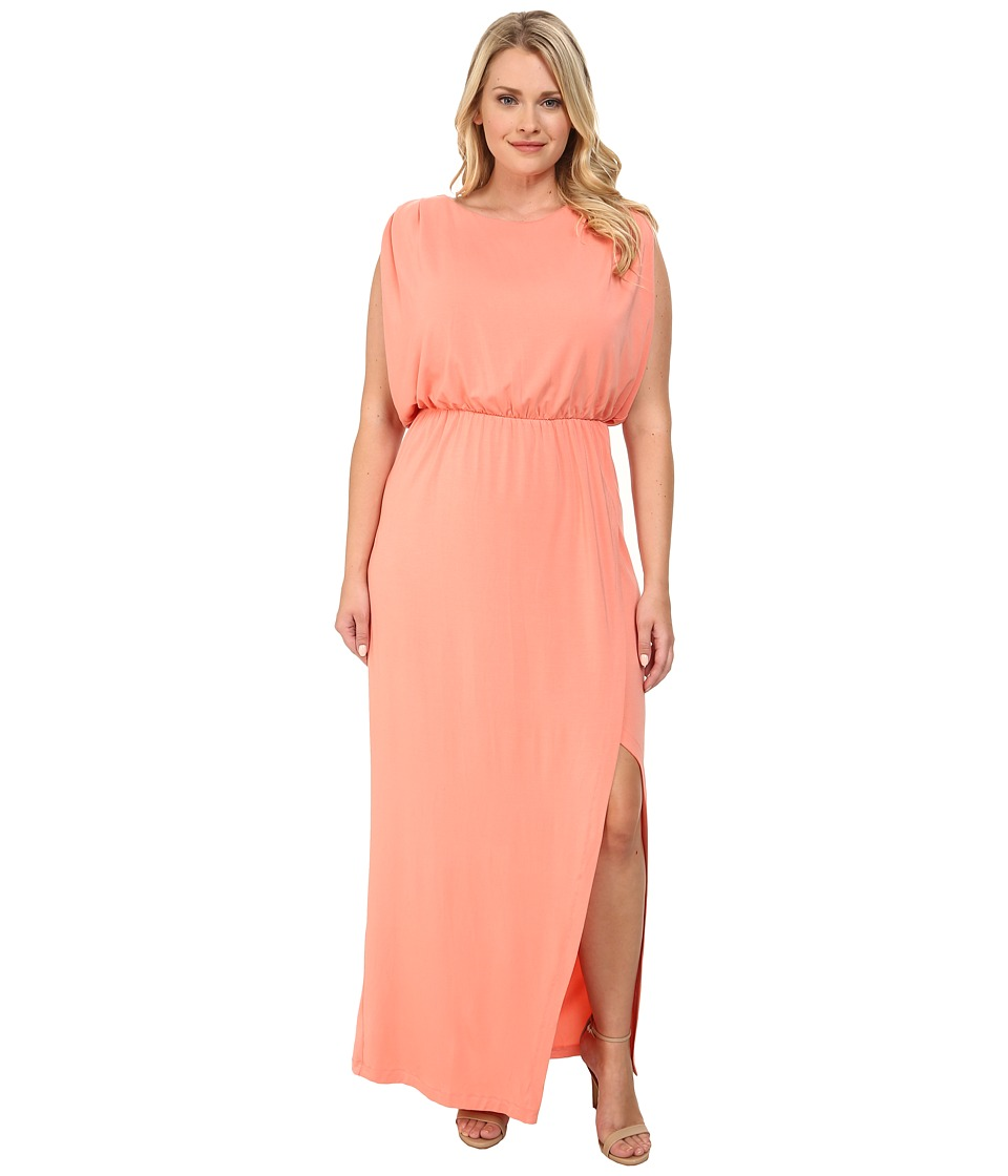 Mynt 1792 - Plus Size Sheer Back Maxi (Burnt Coral) Women
