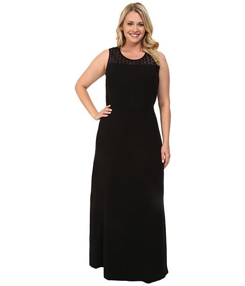Mynt 1792 - Plus Size Lace Yoke Dress (Jet Black) Women's Dress