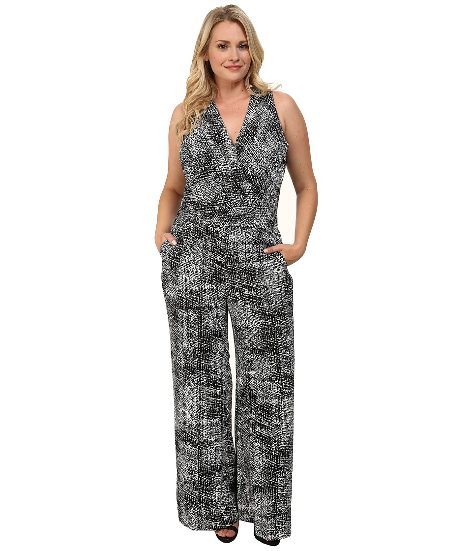 Mynt 1792 - Plus Size Sheer Bodice Jumpsuit (Black/White Printed Boucle) Women's Jumpsuit & Rompers One Piece