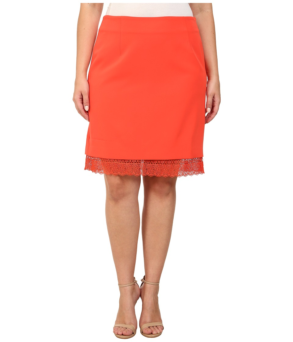 Mynt 1792 - Plus Size Lace Hem Skirt (Mandarin Red) Women's Skirt
