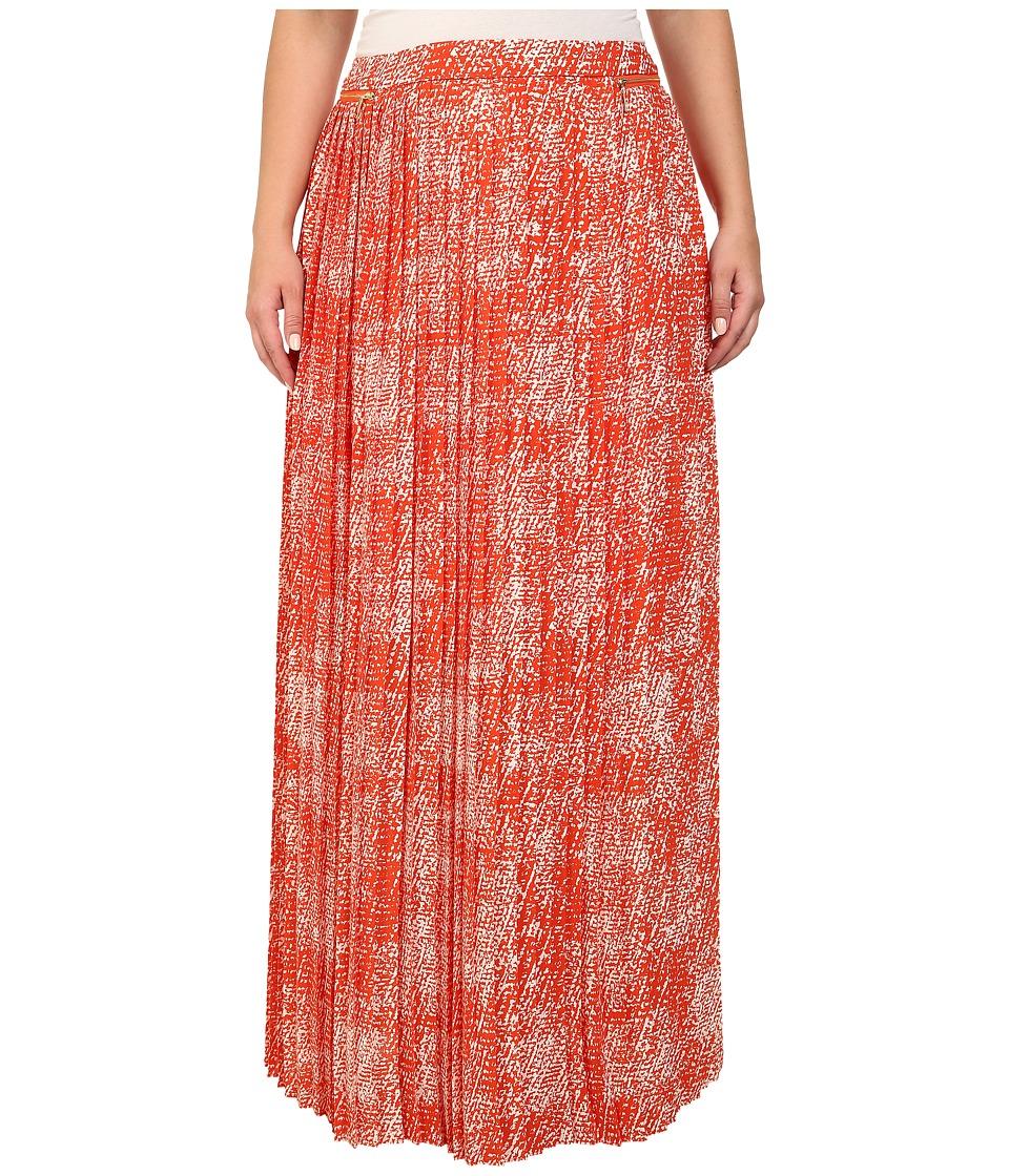 Mynt 1792 - Plus Size Pleated Maxi Skirt (Printed Boucle Mandarin) Women's Skirt