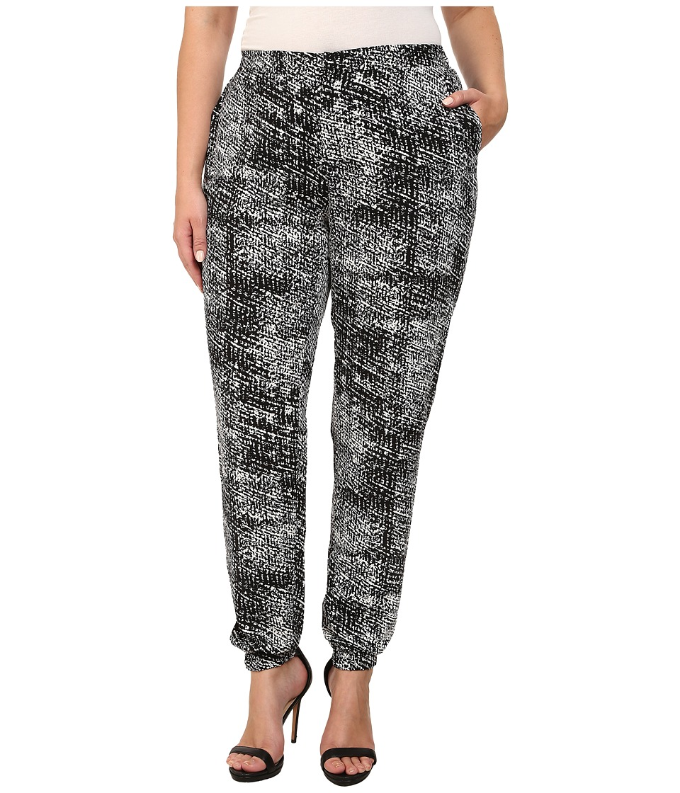 Mynt 1792 - Plus Size Slouch Pants (Black/White Printed Boucle) Women's Casual Pants
