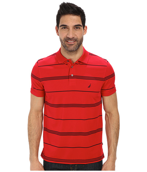 Nautica - Short Sleeve Stripe Tech Polo (Tango Red) Men