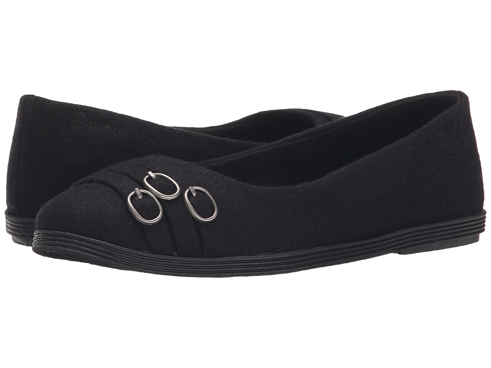 Blowfish - Grants (Solid Black Two-Tone Flannel) Women's Flat Shoes