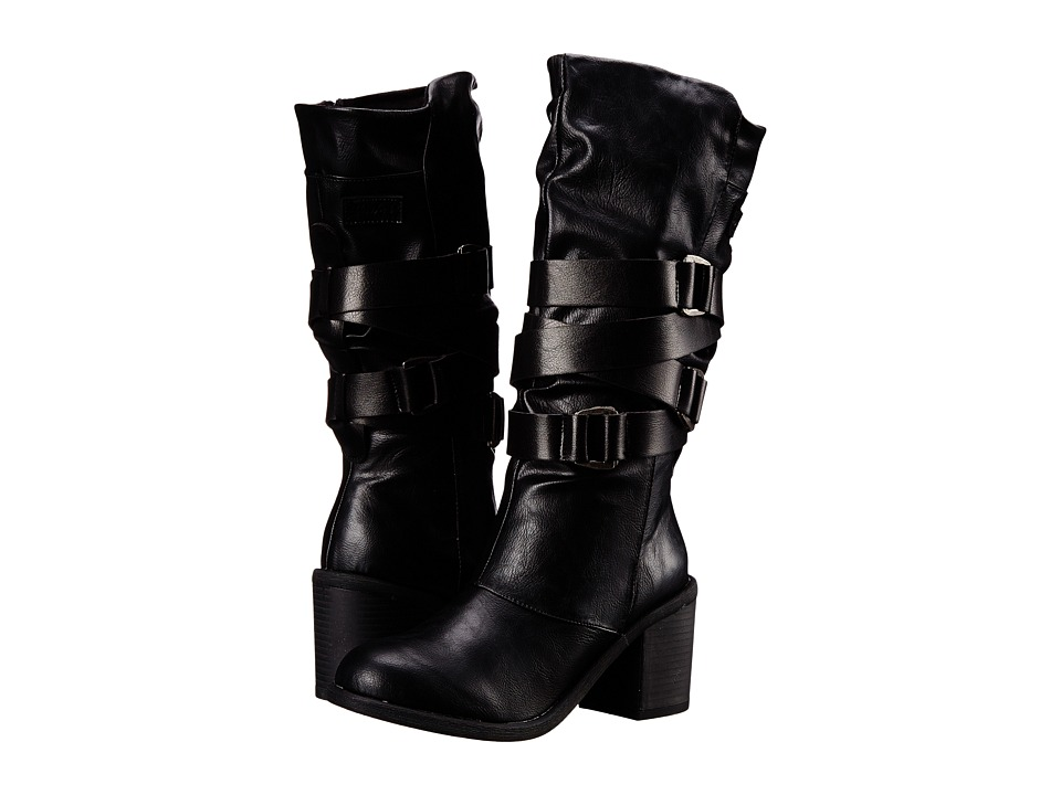 Blowfish - Momento (Black Old Saddle PU/Pisa PU) Women's Zip Boots