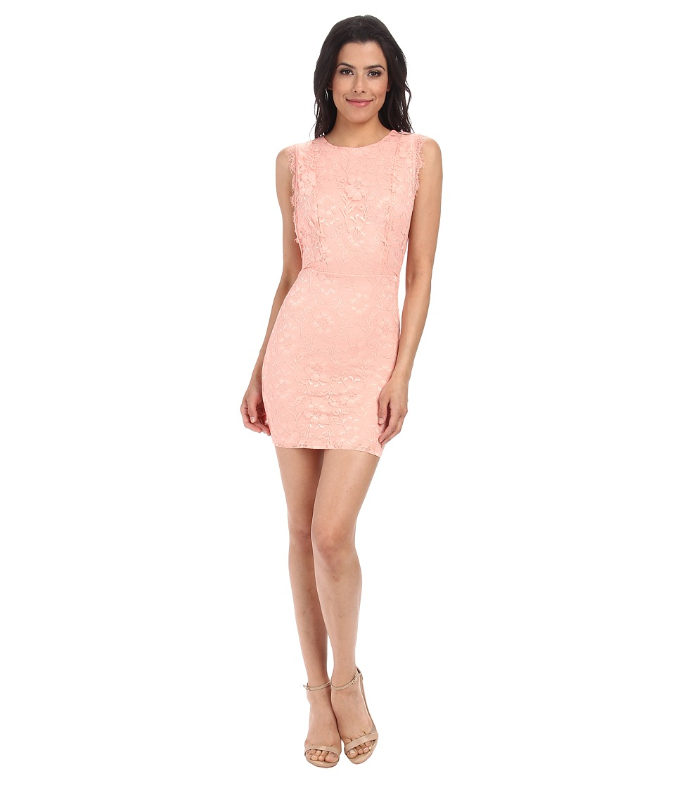 Alejandra Sky Aby Lace Cutout Back Dress (Peach) Women