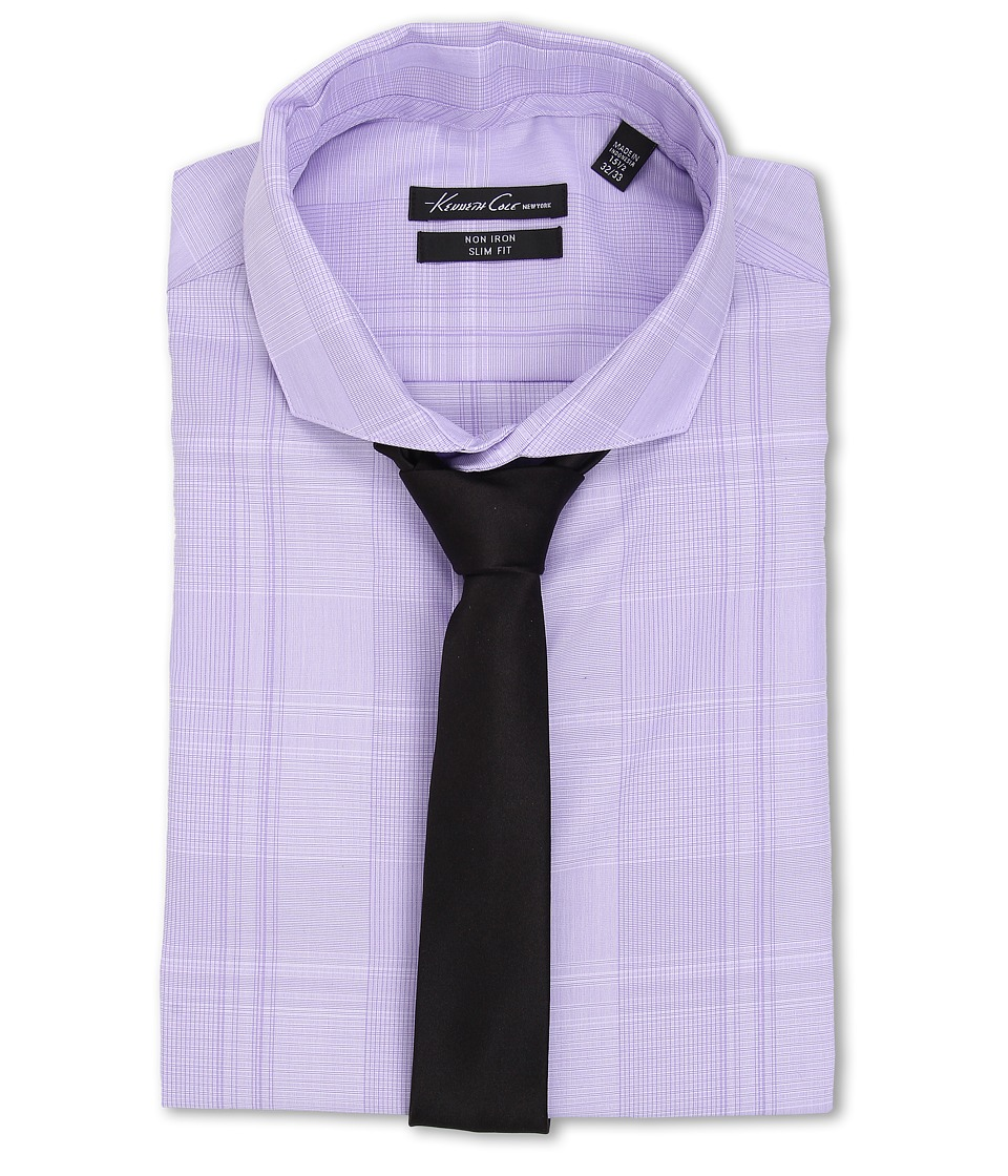 Kenneth Cole New York - Slim Fit Non-Iron Check (Grappa) Men's Long Sleeve Button Up