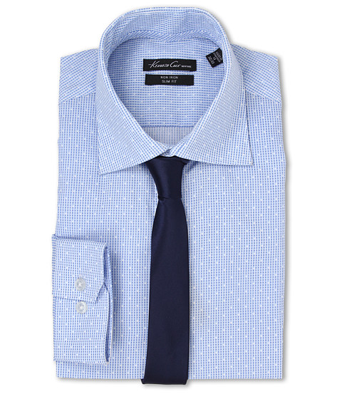 Kenneth Cole New York - Slim Fit Non-Iron Check (Periwinkle) Men