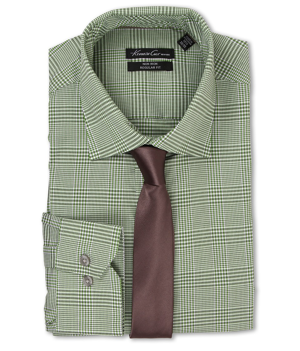 Kenneth Cole New York - Regular Fit Non-Iron Plaid (Kiwi) Men