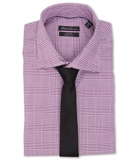 Kenneth Cole New York - Regular Fit Non-Iron Plaid (Fuchsia) Men