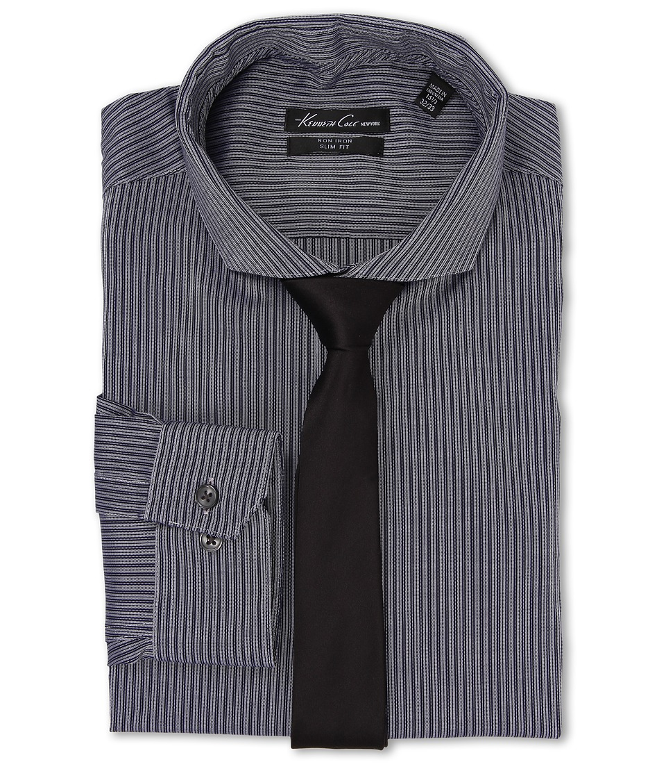 Kenneth Cole New York - Slim Fit Non-Iron Stripe (Navy) Men's Long Sleeve Button Up