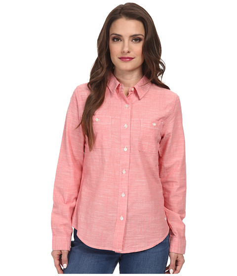 Dockers Petite - Petite Spring Chambray Shirt (Tigerlily) Women's Long Sleeve Button Up