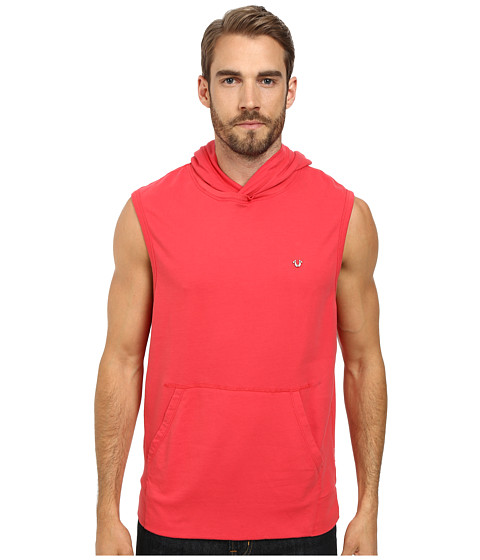 True Religion - Pullover Sleeveless Hoodie (Ruby Red) Men's Sweatshirt