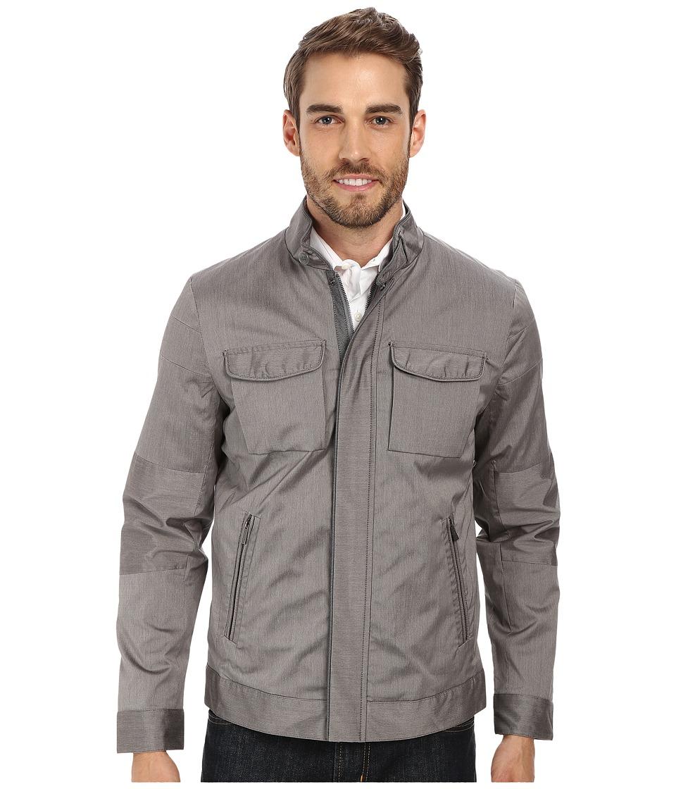 Calvin Klein - Pinstripe Cotton Blend Jacket (Concrete) Men's Coat