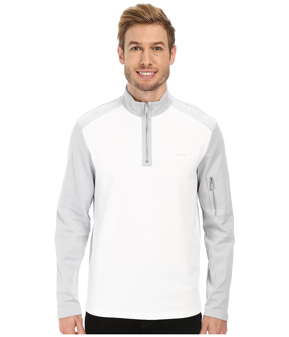 Calvin Klein - 1/4 Zip Blocked Sweatshirt (White) Men