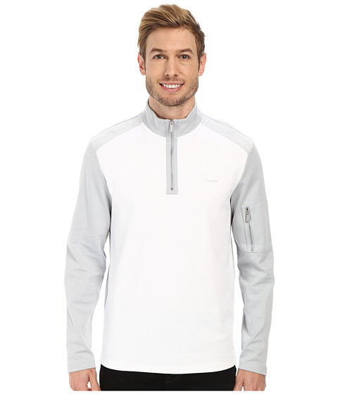 Calvin Klein - 1/4 Zip Blocked Sweatshirt (White) Men's Sweatshirt