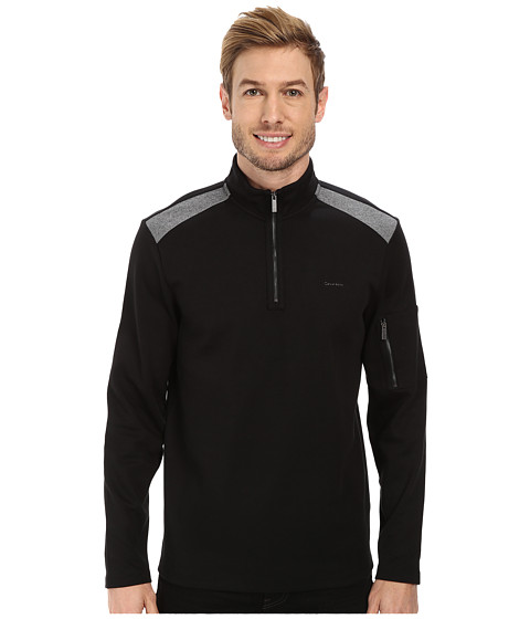 Calvin Klein - 1/4 Zip Blocked Sweatshirt (Black) Men's Sweatshirt