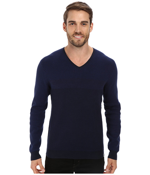 Calvin Klein - Cotton Novelty Striped Sweater (Knight Blue) Men