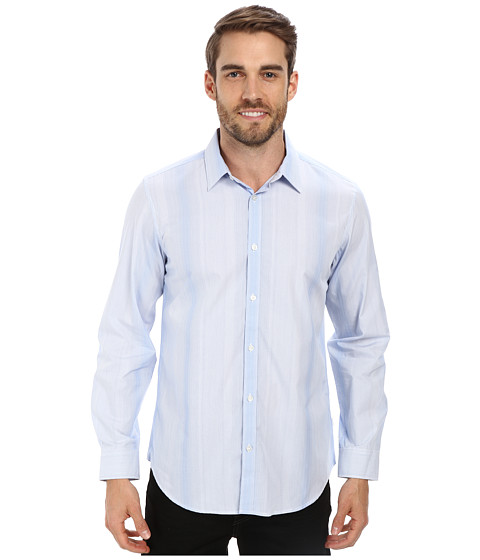 Calvin Klein - Liquid Cotton Variegated Stripe Woven Shirt (White) Men's Long Sleeve Button Up